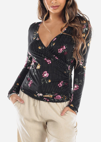 Black Floral Wrap Front Top