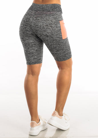 Activewear Heather Neon Orange Biker Shorts