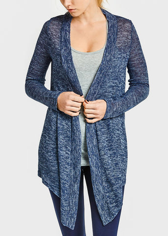 Navy Thin Knit Open Cardigan