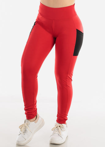 Red Side Pockets Leggings