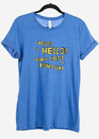 "Image of Heather Blue Graphic Top ""Hola"""