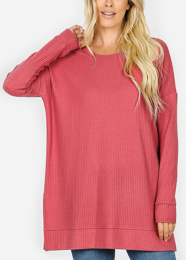 Rose Bushed thermal Waffle Sweater