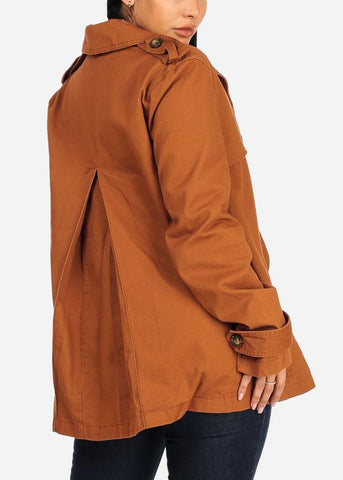 Button Down Camel Trench Coat
