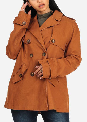 Image of Button Up Camel Trench Coat