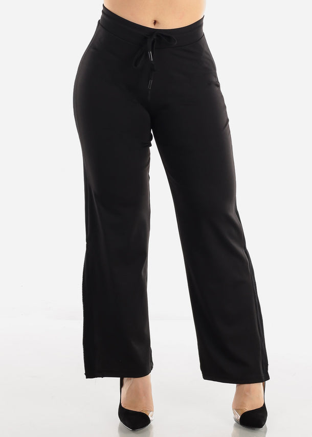 Black Side Slit Jogger Pants