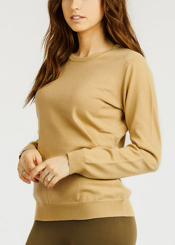 Image of Beige Crew Neck Stretchy Sweater