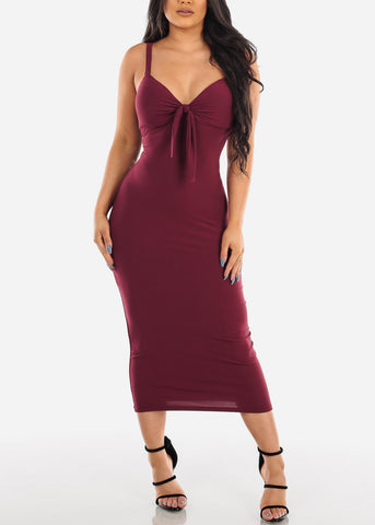 Image of Sexy Sleeveless Burgundy Padded Sweetheart Bust Bodycon Tight Fit Below The Knee Bodycon Midi Dress