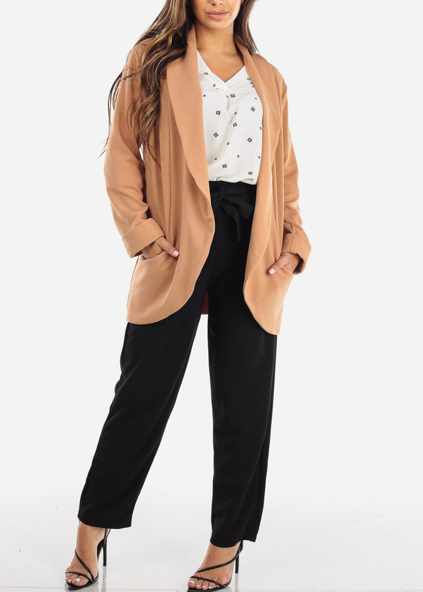 Casual Open Front Camel Blazer