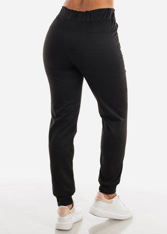 Black Drawstring Waist Jogger Pants