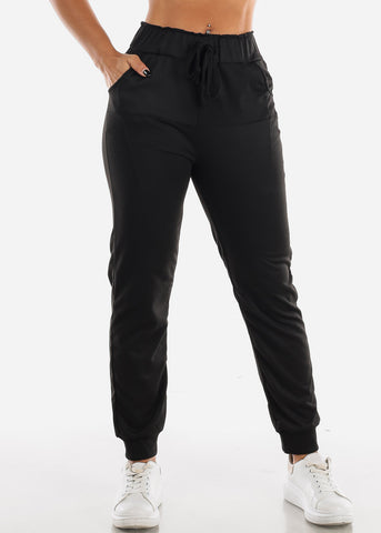 Image of Black Drawstring Waist Jogger Pants