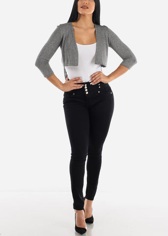 Image of Glittery Casual Dark Grey Bolero