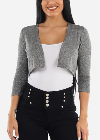 Glittery Casual Dark Grey Bolero