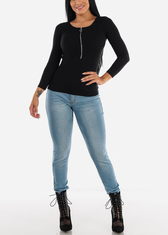 Black Long Sleeve Zip Up Top