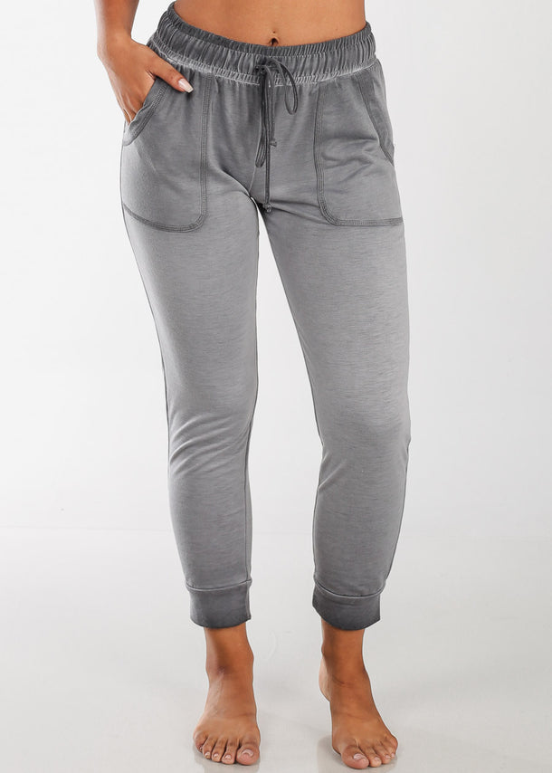 Women's Junior Ladies Casual Workout Gym Stretchy Light Grey Charcoal High Waisted Ankle Joggers Jogger Pants