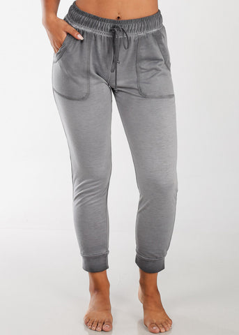 Grey Ankle Jogger Pants