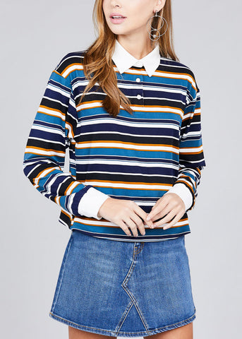 Image of Long Sleeve Navy Stripe Button Up Shirt