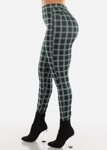 Shinny Butt Lifting Green Plaid Skinny Pants