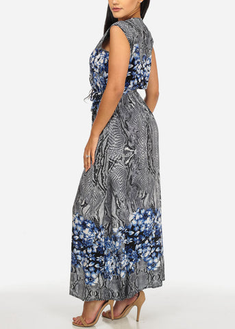 Image of Printed Navy Trendy Maxi Dress