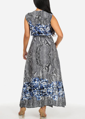 Printed Navy Trendy Maxi Dress