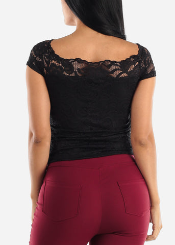 Black Off Shoulder Floral Lace Top