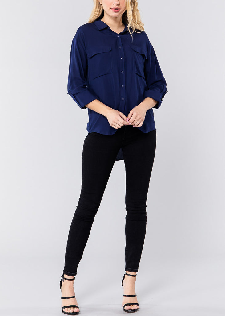 Classic Navy Front Pocket Shirt