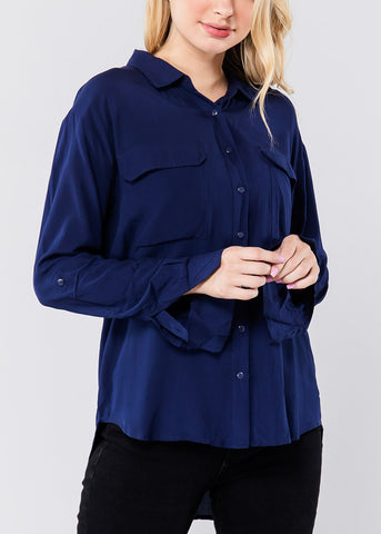 Image of Classic Navy Front Pocket Shirt