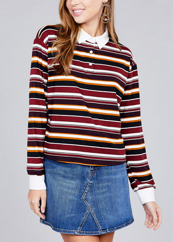 Long Sleeve Burgundy Stripe Button Up Shirt