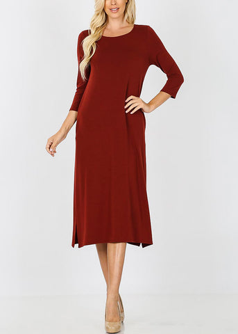 Brick Mid Length Boxy Dress