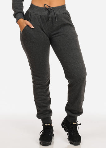 High Rise Drawstring Jogger Pants (Charcoal)