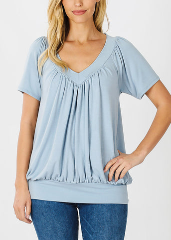 Short Sleeve Blue Blouson Top