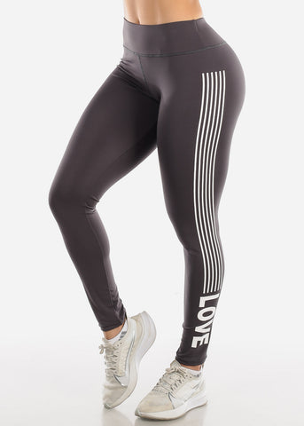 "Image of Activewear Grey Stripe Leggings ""Love"""