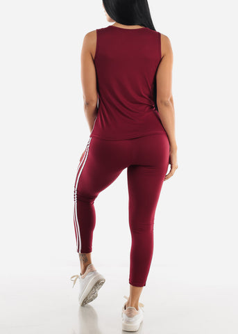 Image of Burgundy Activewear Set ( 2 PCE SET )
