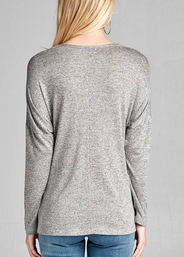 Long Sleeve V-Neck Grey Tunic Top