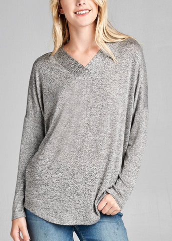 Image of Long Sleeve V-Neck Grey Tunic Top