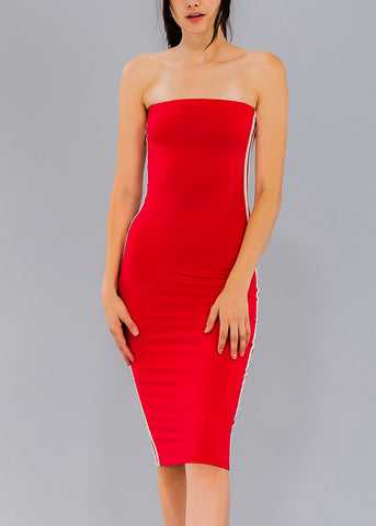 Strapless Red Bodycon Tube Dress