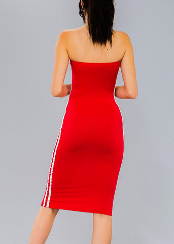 Image of Strapless Red Bodycon Tube Dress