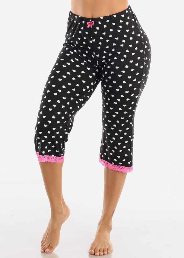 Stretchy Black Printed Pajama Pants