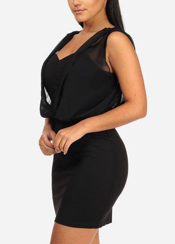 Sexy Sleeveless Chiffon Detail Above Knee Solid Black  Dress