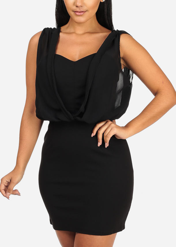 Sleeveless Chiffon Detail Mini Solid Black  Dress
