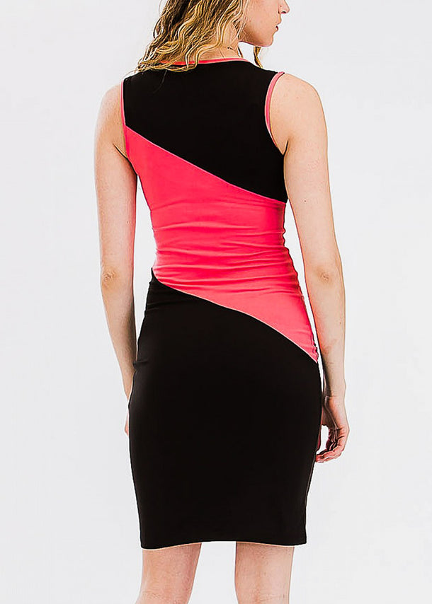 Color Block Sleeveless Pink Bodycon Dress