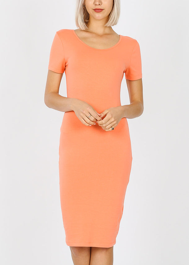 Short Sleeve Coral Bodycon Midi Dress