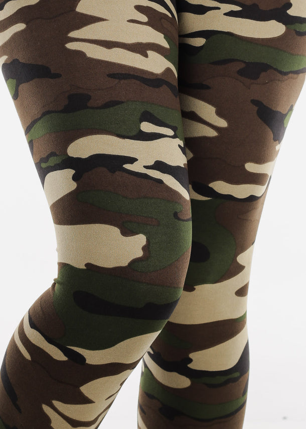 Green Camouflage Print Leggings