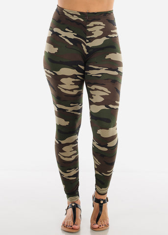 Image of Green Camouflage Print Leggings L139GRNCAMO