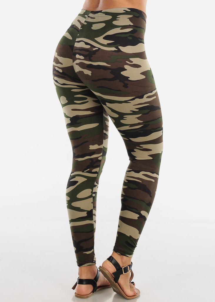 Green Camouflage Print Leggings L139GRNCAMO