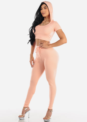 Ribbed Pink Crop Top & Pants (2 PCE SET)