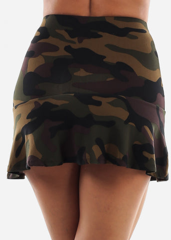 High Waisted Camouflage Skirt