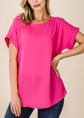 Woven Boat Neckline Hot Pink Blouse
