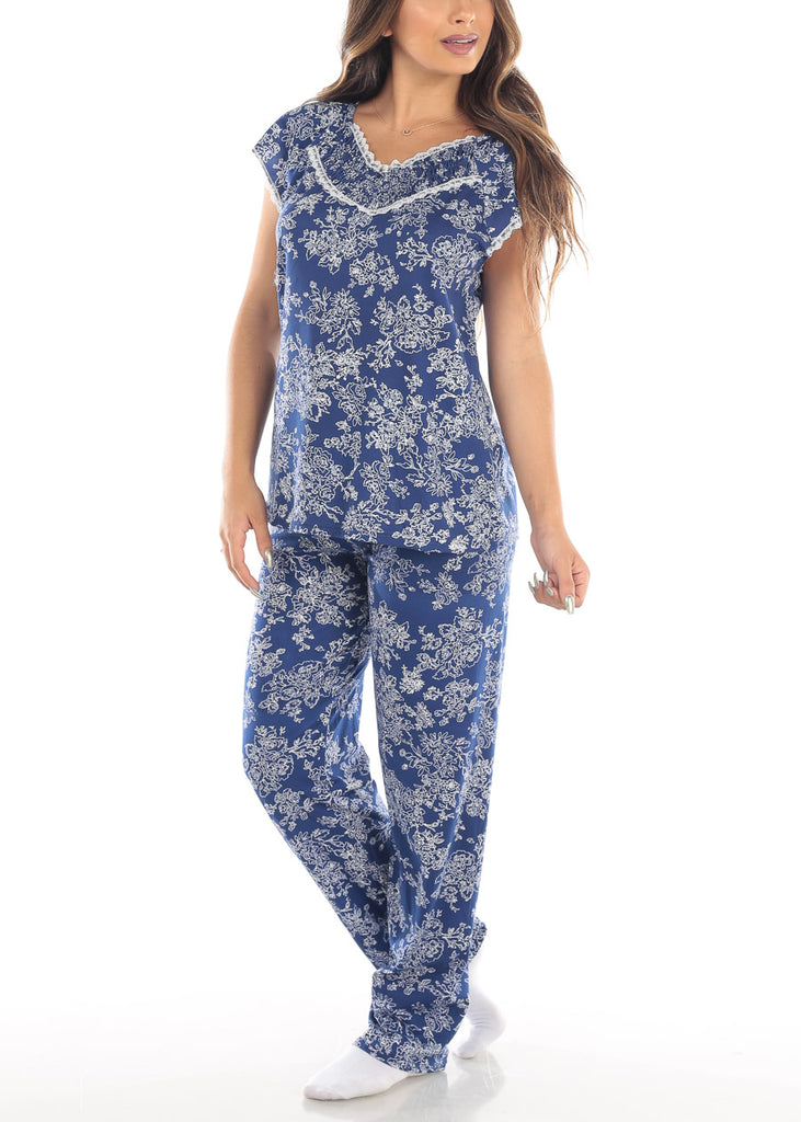 Short Sleeve Floral Print Navy Top And Pants Two Piece Set Sleepwear