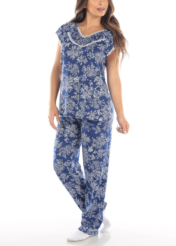 Floral Print Navy Top & Pants (2 PCE PJ SET)