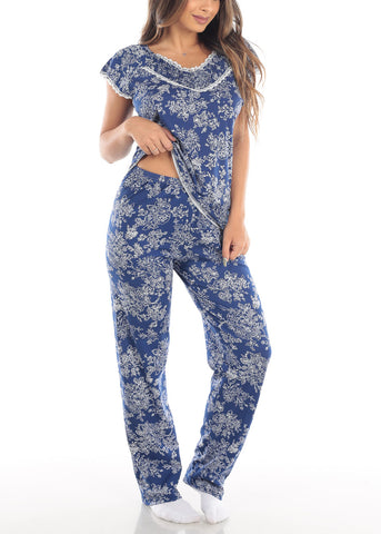 Image of Short Sleeve Floral Print Navy Top And Pants Two Piece Set Sleepwear